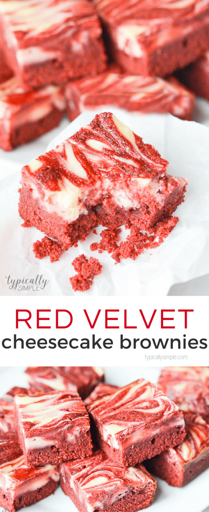 Red velvet brownies topped with a cheesecake swirl, this decadent treat is perfect to serve as a yummy Valentine's Day dessert!