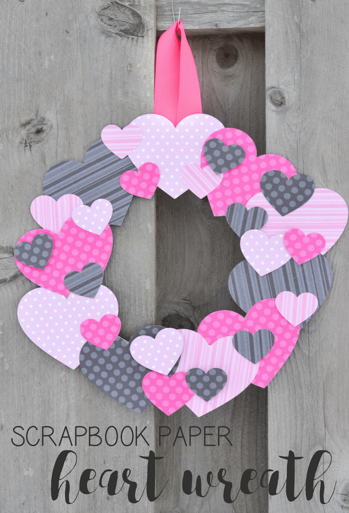 Scrapbook Paper Heart Wreath Typically Simple