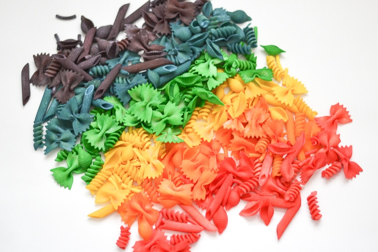 Make rainbow colored pasta noodles with rubbing alcohol