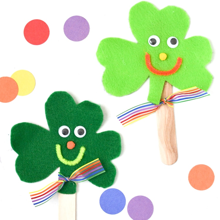 Using just a few basic craft supplies, make these cute craft stick shamrock puppets with the kids for St. Patrick's Day!