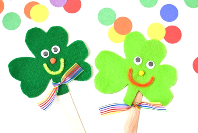 Felt Shamrock Craft Stick Puppets