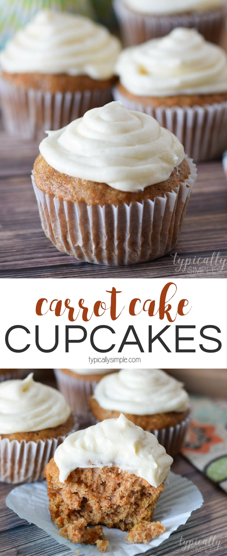 With a hint of cinnamon and a slightly sweet cream cheese frosting, these carrot cake cupcakes are a delicious dessert to serve for Easter or at a spring brunch.