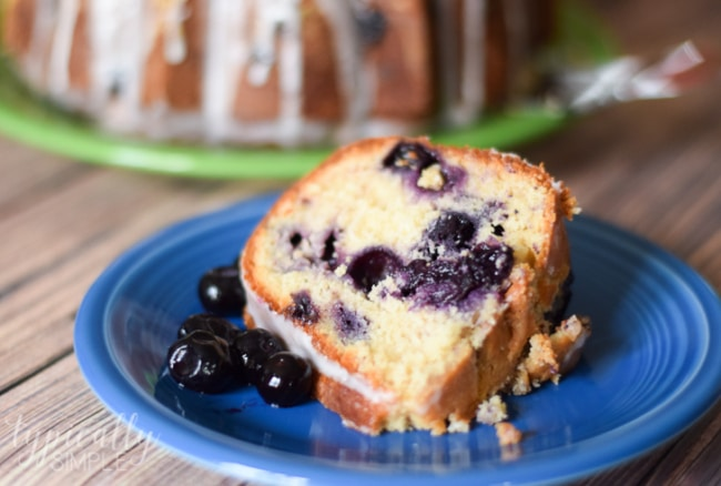 This pound cake recipe is packed full of juicy blueberries and has just a hint of lemon glaze that makes it a delectable summertime dessert!
