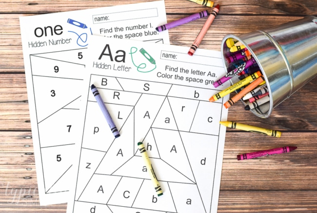 Free printables to practice letter and number recognition. Grab a few crayons and start coloring to find the Hidden Letter A and Hidden Number 1. Perfect for preschool or early elementary as a way to practice letter and number identification and fine motor skills.