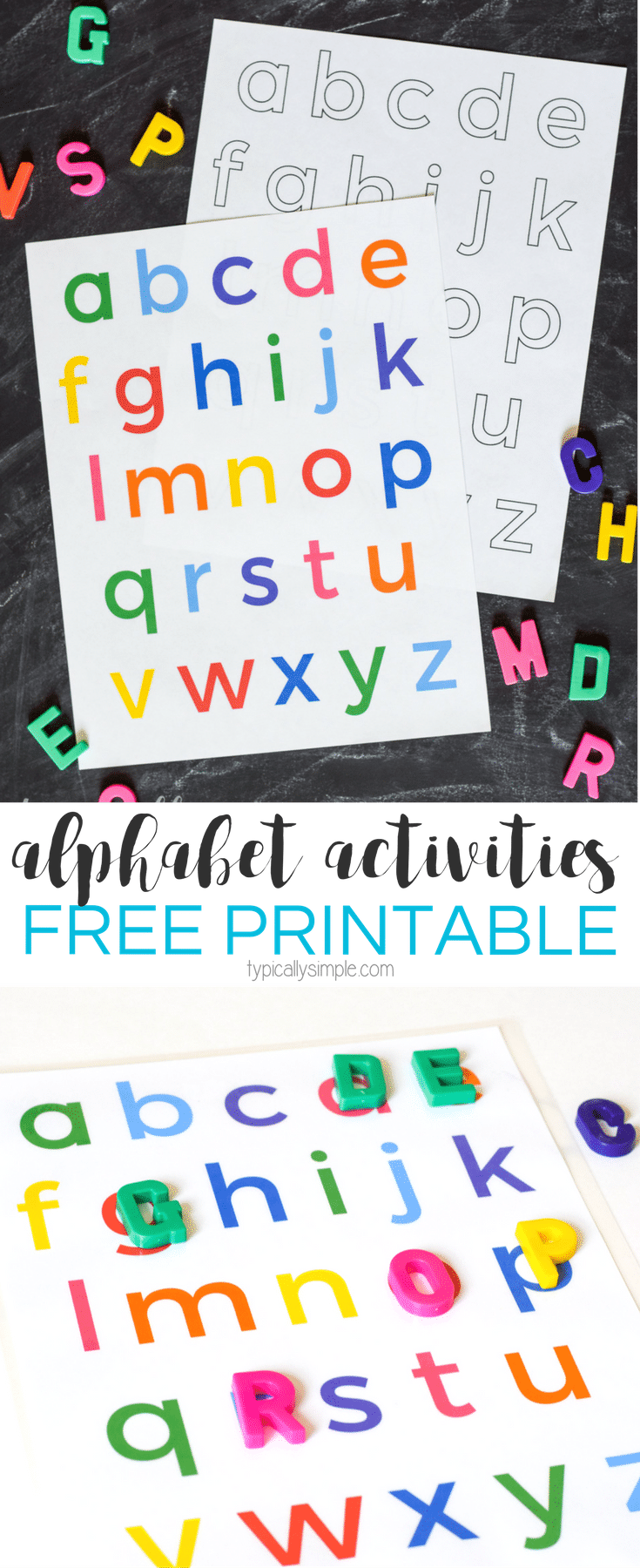 use this free printable of the lowercase letters to help build letter awareness through alphabet activities