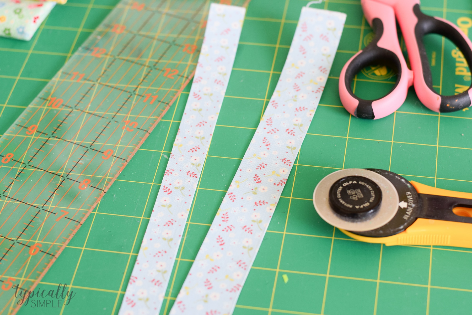 cutting the fabric tape into strips