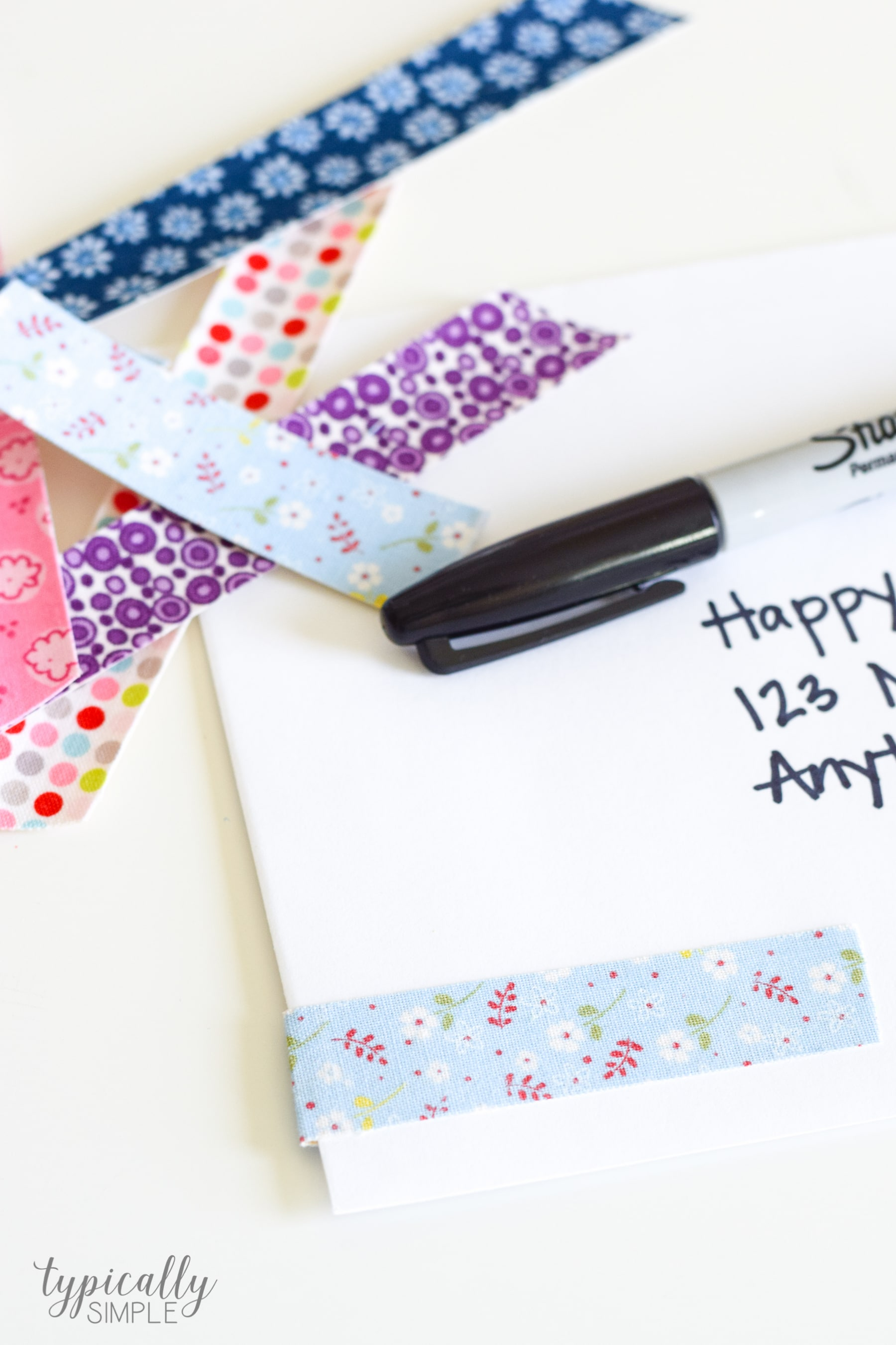 fabric tape on envelopes