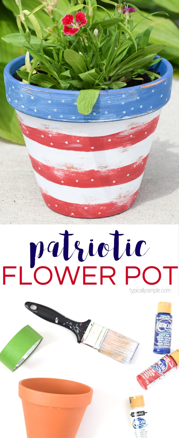 Grab a clay pot and a few painting supplies to make this distressed patriotic flower pot! A great addition to your porch, garden, or patio!