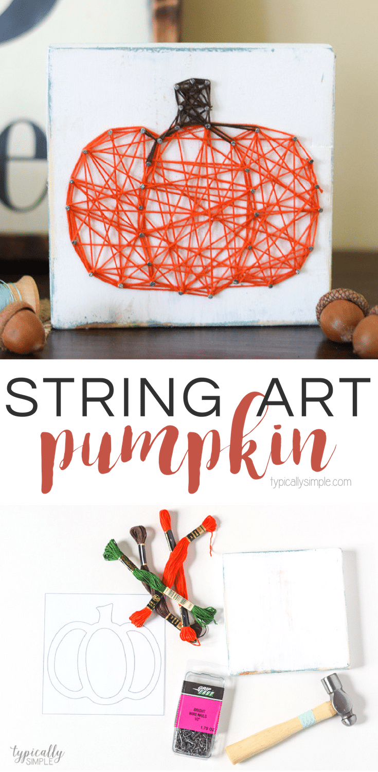 String art crafts are so much fun to customize for seasons and holidays. This Pumpkin string art makes a perfect simple fall decor piece to display in your home!