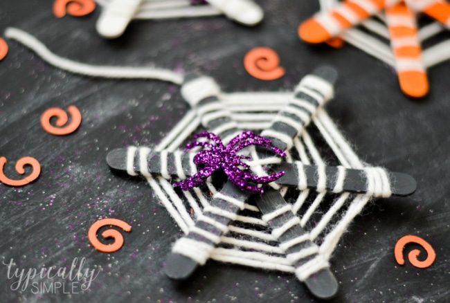 Craft Stick Spiderwebs Halloween Craft