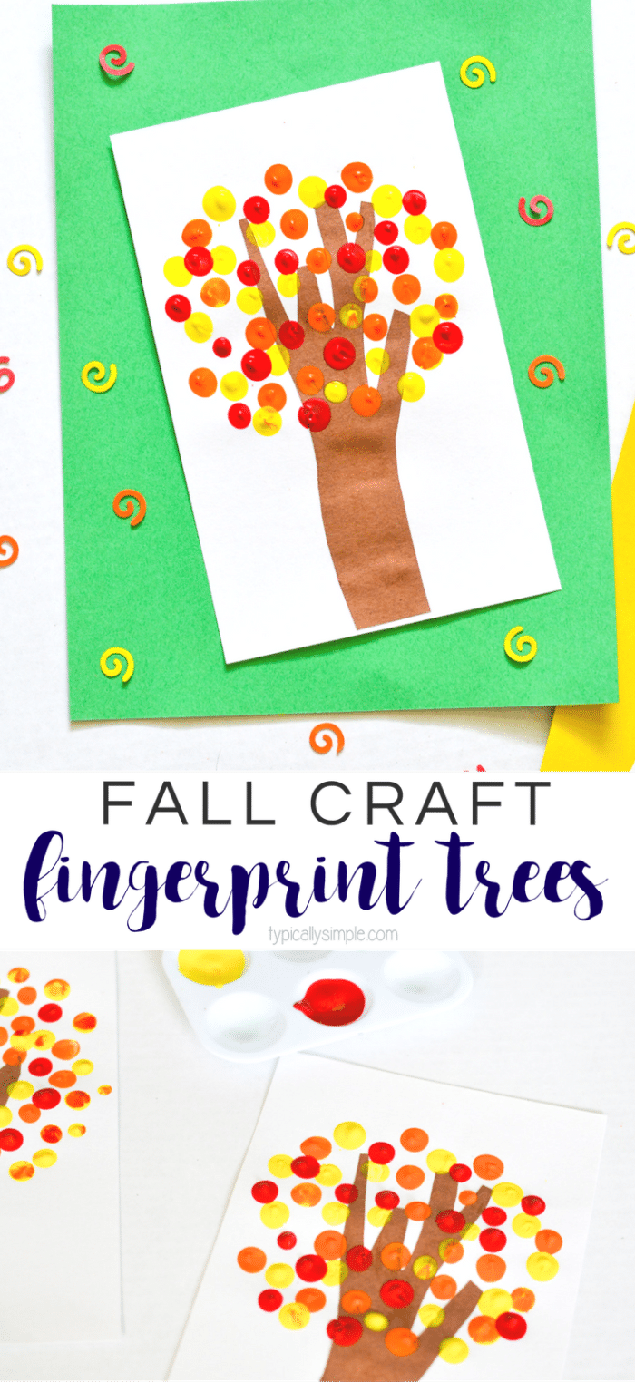 These fingerprint trees are a super fun fall craft to make with the kids!