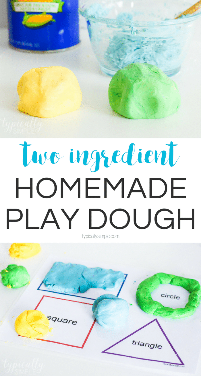 Just two basic ingredients are all you need to make this super soft homemade play dough! The kids will love how easy it is to mold, roll, and smush!