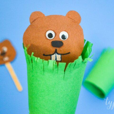 Groundhog Puppet Craft for Kids