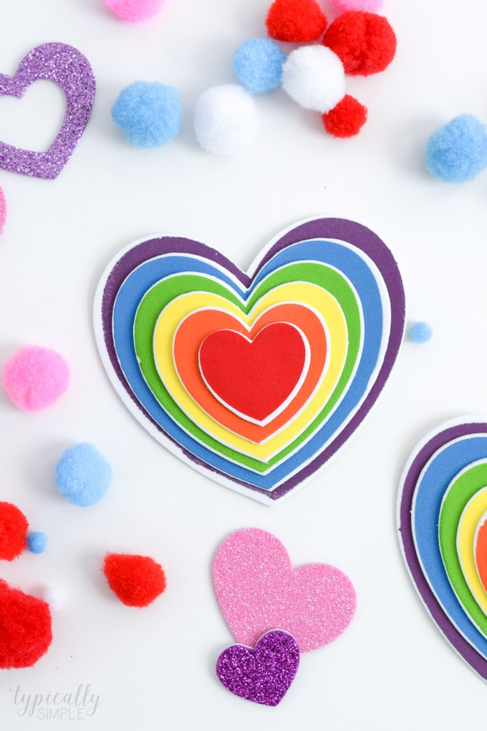 Valentine's Day Classroom Craft with nesting hearts