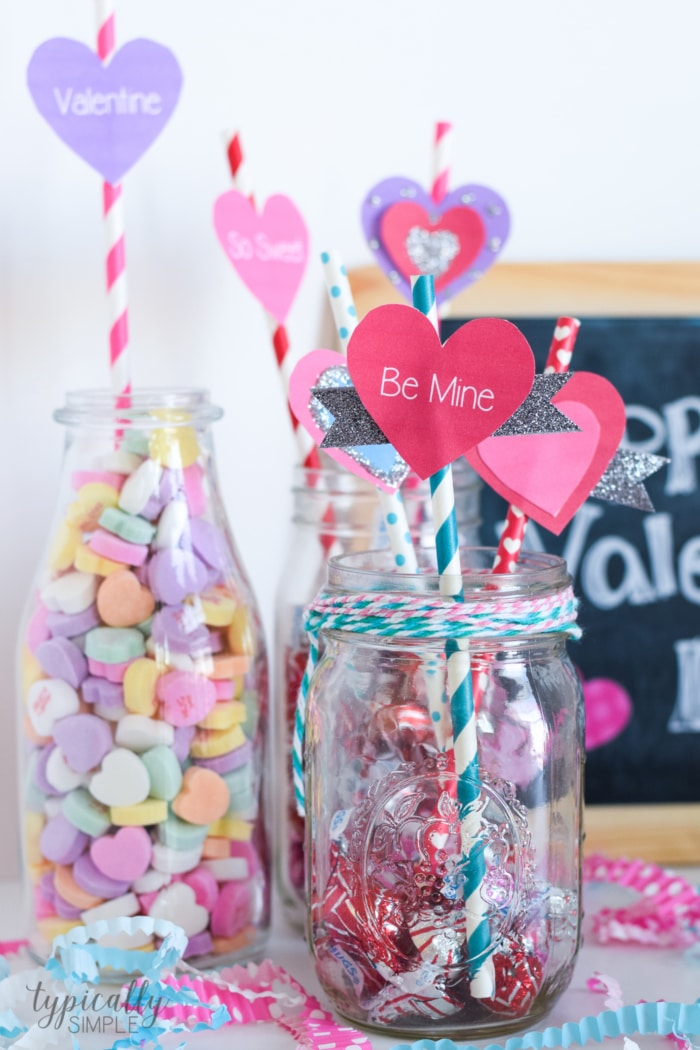 Valentine S Day Craft Straw Toppers Typically Simple