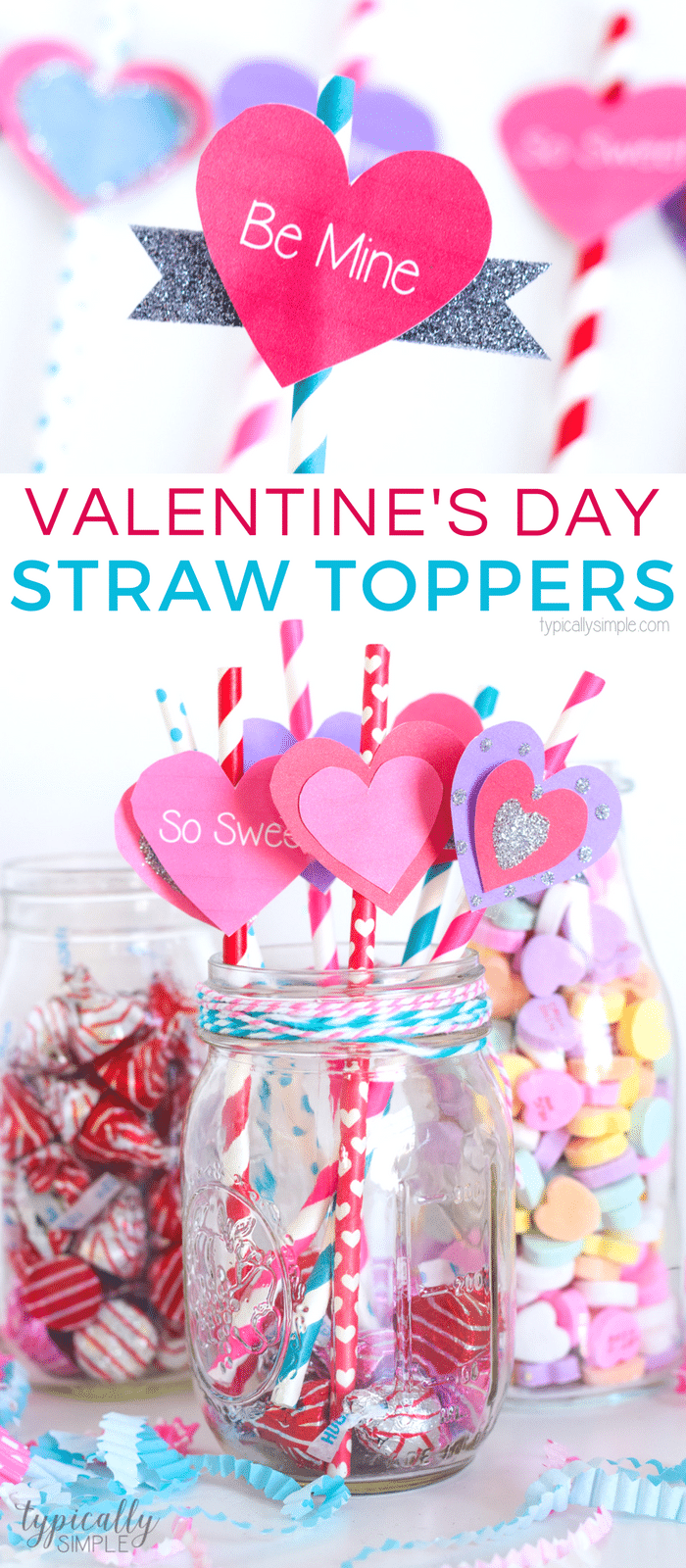 These straws toppers are a super cute and easy Valentine's Day craft project! Use them for table decor, drinks, cupcake toppers, or just a fun craft for the kids to make using the free Valentine's Day printable!