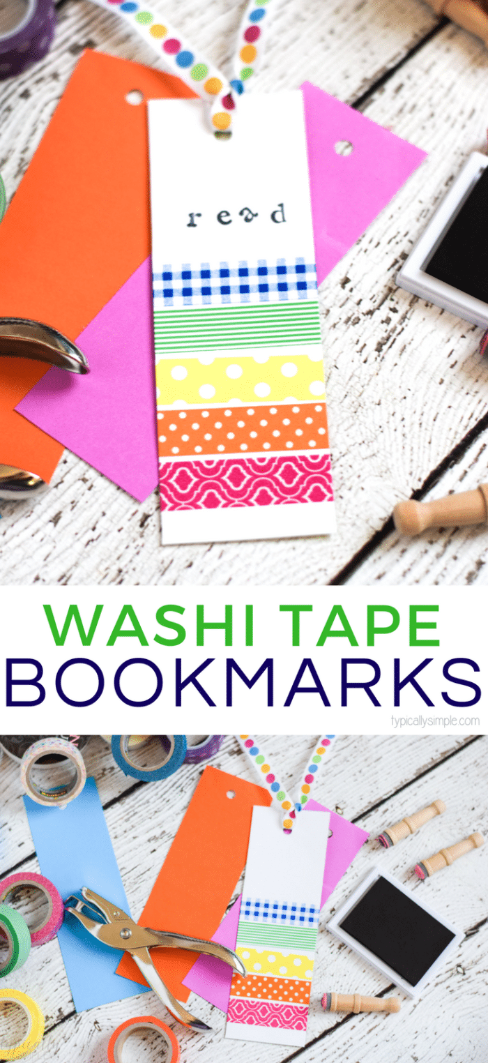 These colorful washi tape bookmarks are a great way to keep the kids busy creating! Plus it's a great way to use up all those scraps of paper and half used rolls of washi tape in the craft room!
