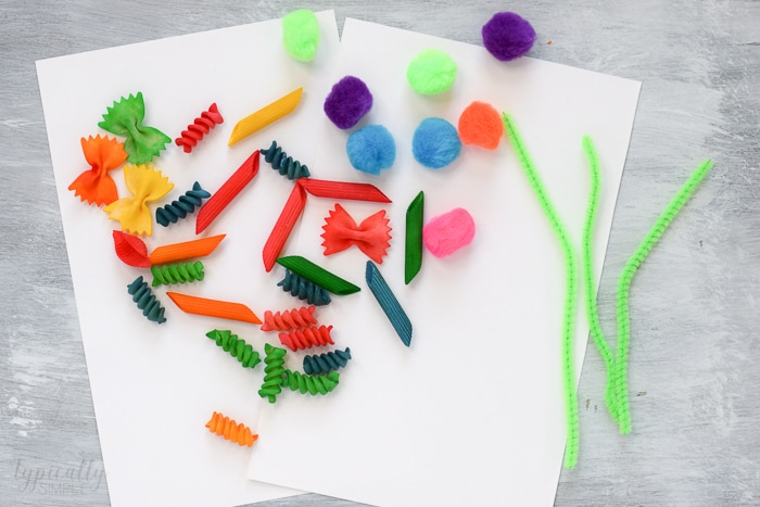 colorful pasta noodles for craft project