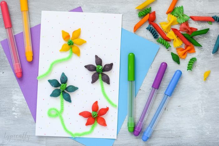 pasta noodle flowers craft for kids