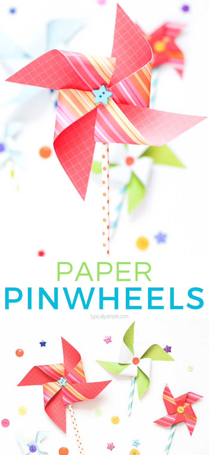colorful paper pinwheels for spring and summer decor