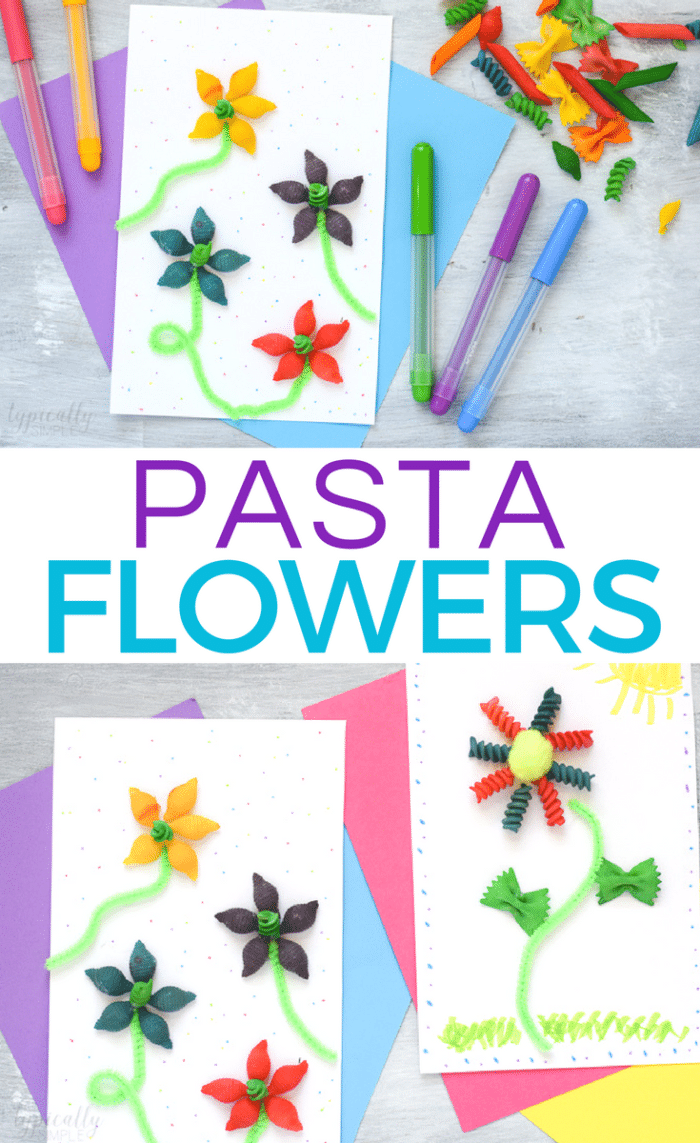cute spring craft for kids using pasta