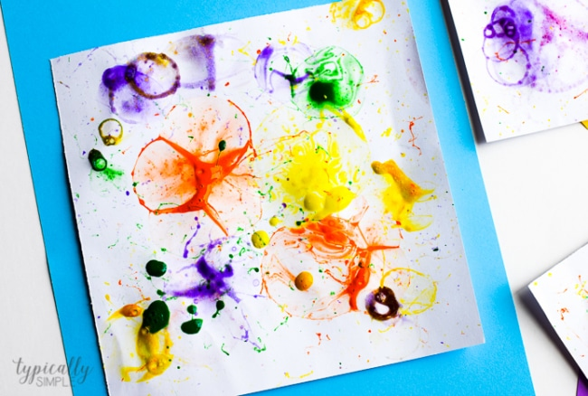 bubble painting art full of bright colors and textures