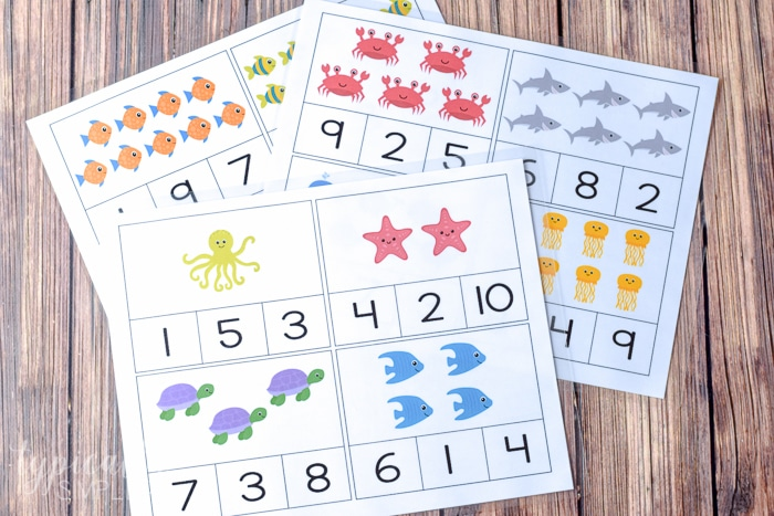 printable sheets of count and clip cards