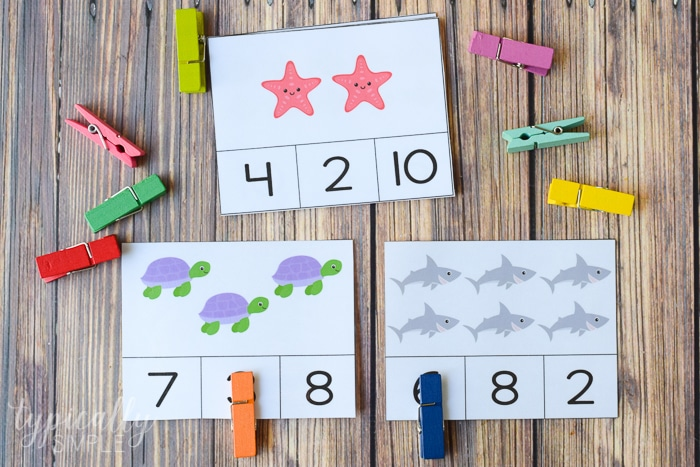 clothespins on cards to practice counting