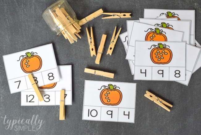 Count and Clip Cards: Pumpkin Seeds