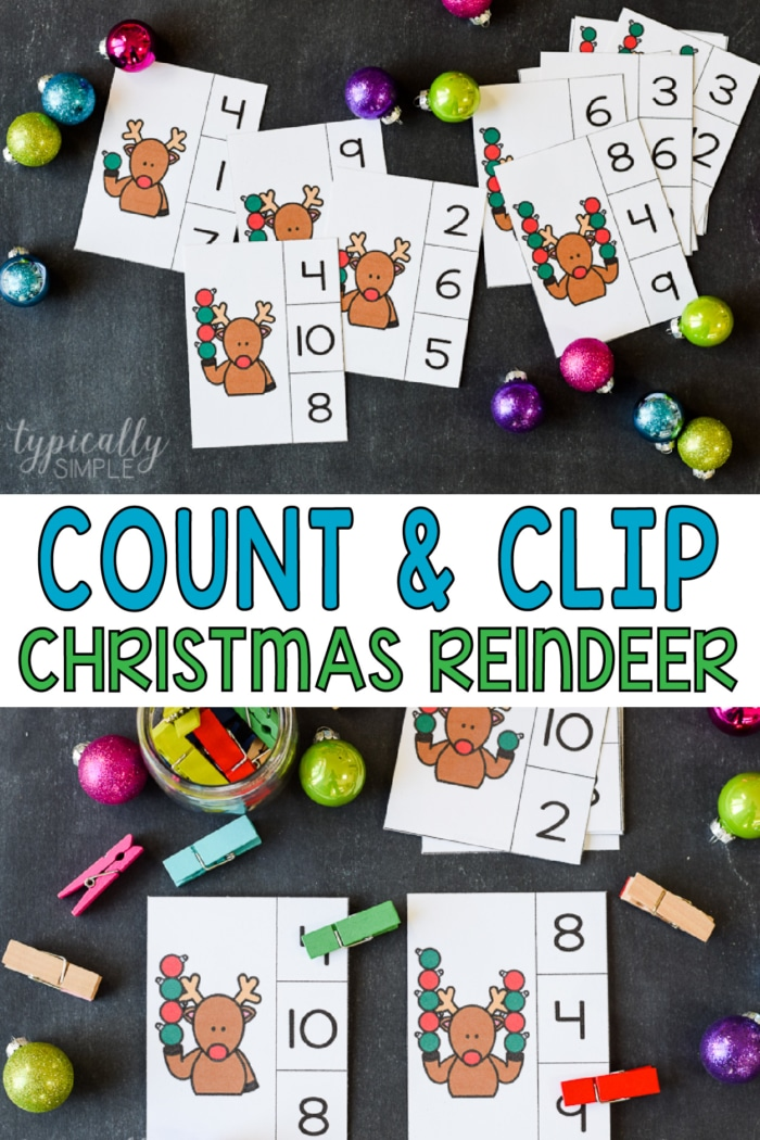 count and clip cards with christmas reindeer