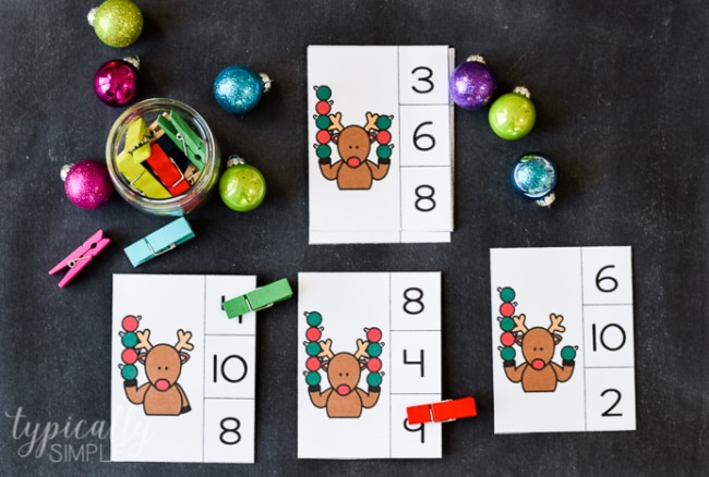 Count and Clip Cards: Christmas Reindeer