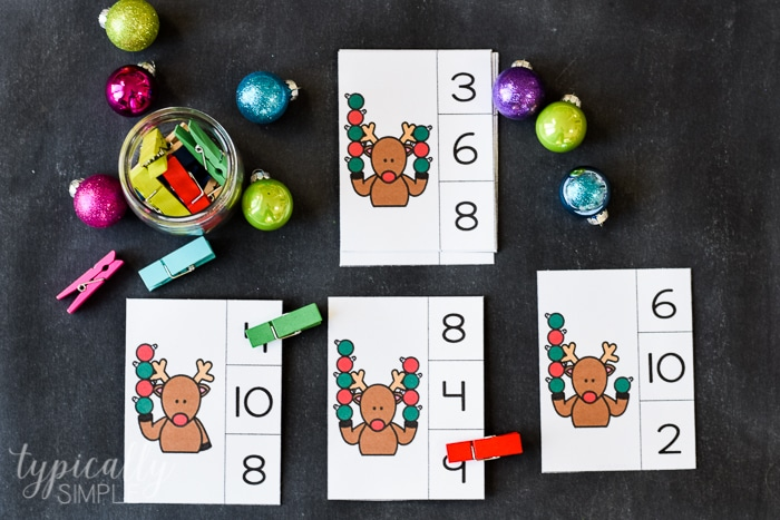 count and clip cards for christmas themed learning