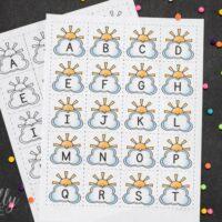 Printable Alphabet Cards - Clouds