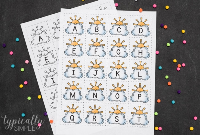 Printable Alphabet Cards – Clouds