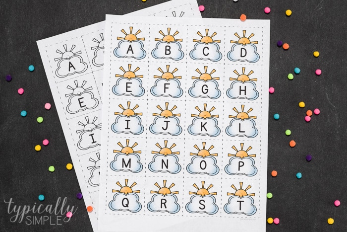 picture relating to Alphabet Cards Printable named Printable Alphabet Playing cards - Clouds - Ordinarily Easy