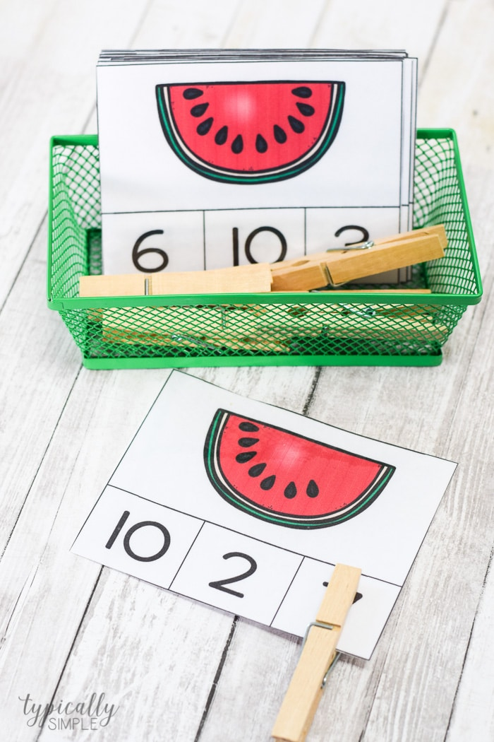 count and clip cards with watermelons
