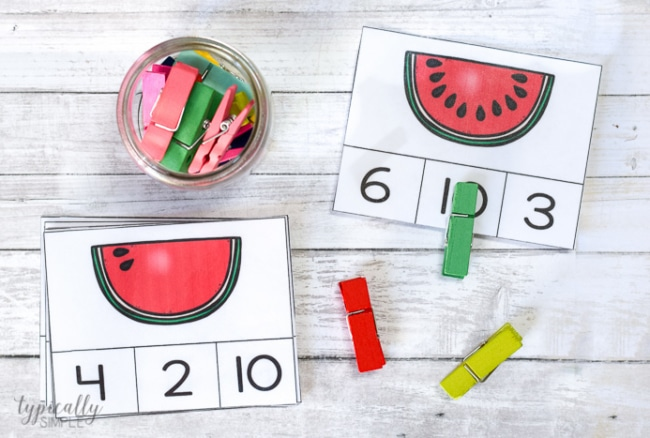 Count and Clip Cards: Watermelon Seeds